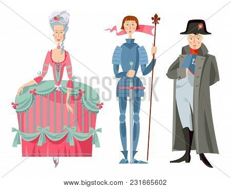 History Of France. Queen Marie Antoinette, Jeanne D'arc (joan Of Arc), Napoleon Bonaparte.