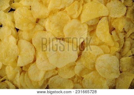 Crispy Potato Chips Snack Food On Background