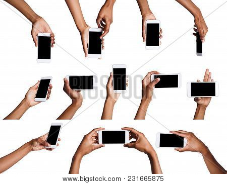 Set Of Black Male Hand Touching Mobile Phone Display And Pointing With Index Finger On Black Screen,