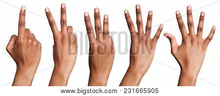 Set Of African-american Hands Counting. Collection Of Black Hands Showing One, Two, Three, Four, Fiv