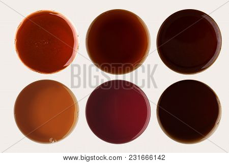 Set Of Coffee Foams Isolated On White Background. Above View On Different Cups.