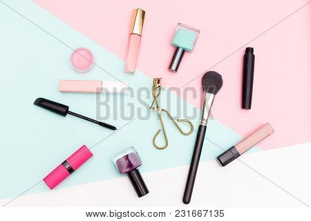 Set Of Decorative Cosmetics, Makeup Tools On Multicolored Background. Flat Lay