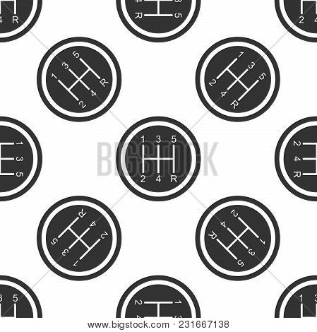 Gear Shifter Icon Seamless Pattern On White Background. Transmission Icon. Flat Design. Vector Illus