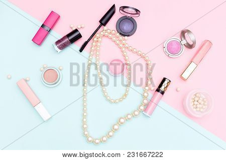 Beauty And Fashion Concept. Flat Lay Composition