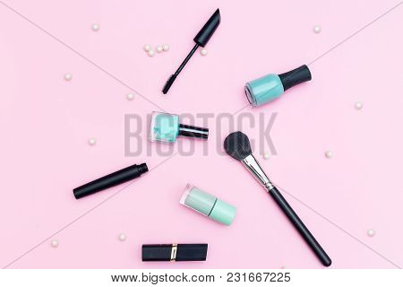 Makeup Tools And Accessory On Pink Background. Flat Lay