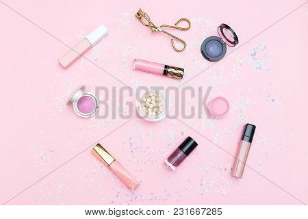 Cosmetics  And Accessories On A Background Of Pink Color. Flat Lay