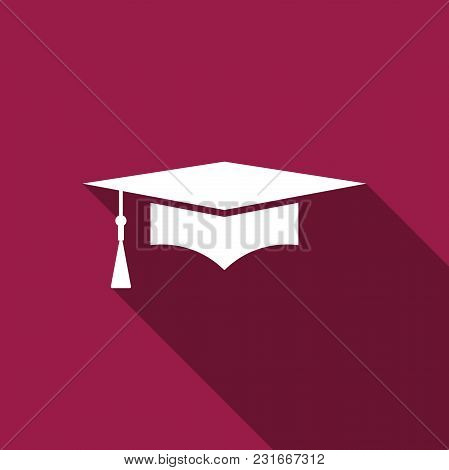 Graduation Cap Icon Isolated With Long Shadow. Graduation Hat With Tassel Icon. Flat Design. Vector