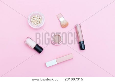 Nude Cosmetics On Pink Background. Flat Lay
