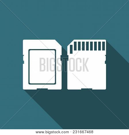 Sd Card Icon Isolated With Long Shadow. Memory Card. Adapter Icon. Flat Design. Vector Illustration
