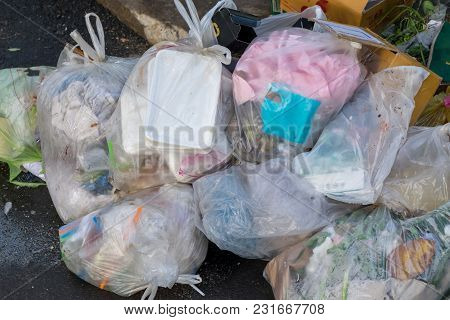 Waste Disposal Point, With Plenty Of Trash In Bags And Is Not In The Bag