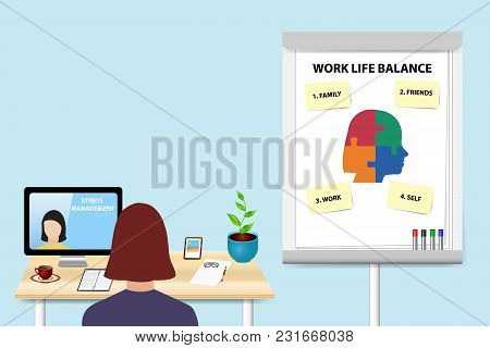 Woman Is Educating In Work Life Balance By A Woman Communicating With Her From A Pc Standing On The