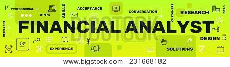 Vector Creative Illustration Of Financial Analyst Word Lettering Typography With Line Icon, Tag Clou