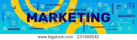 Vector Creative Illustration Of Marketing Word Lettering Typography With Line Icon, Tag Cloud On Blu