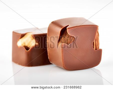 Assortment Of Chocolate Candies Sweets Isolated On A White Background. Chocolate Candies Collection.