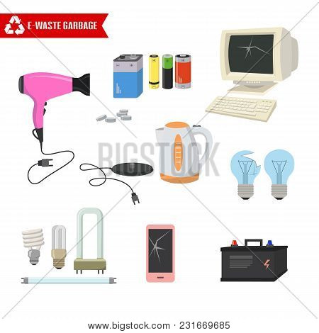 E-waste Trash On White Background. Ecology And Recycle Concept. Vector Illustration.