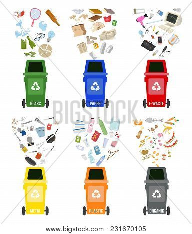 Set Of Colorful Garbage Cans With Sorted Garbage On White Background. Ecology And Recycle Concept. V