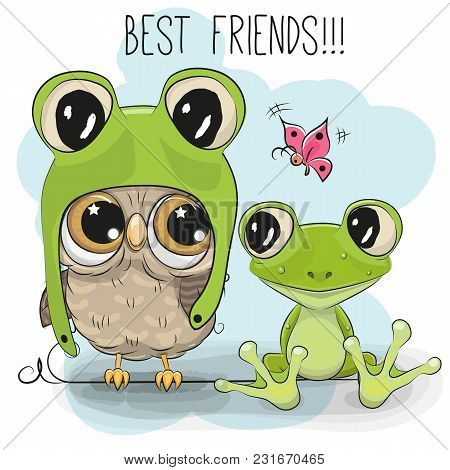 Cute Cartoon Owl In A Frog Hat And Frog