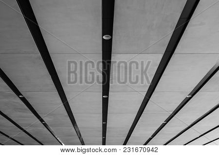 Abstract Black And White Image Line Of Architecture Ceiling At Underground Of Modern Buildings. (sel