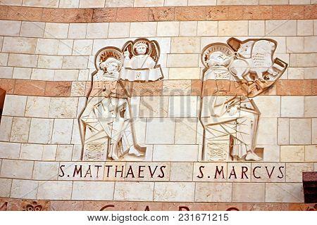Evangelists Saint Mark And Saint Matthew, Basilica Of The Annunciation In Nazareth, Israel