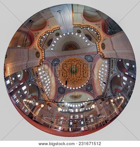 Istanbul, Turkey - March 27, 2012: Ceiling Of The Suleiman Mosque.