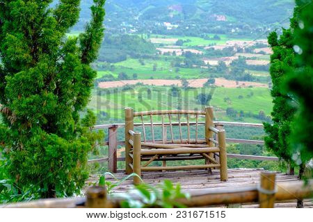 Chairs Made Of Bamboo, Which Is On The High Seat View Of The Valley