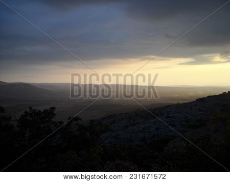 View, Mountains, Light Trees Haze Landscape Evening