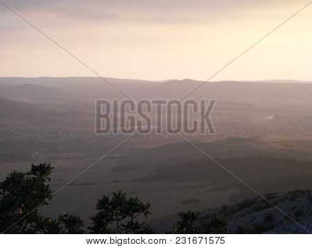View, Mountains, Light Trees Haze Landscape Purple