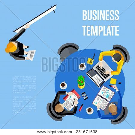 Business Template Vector Illustration. Top View Workspace Background . Businesswoman Making Presenta