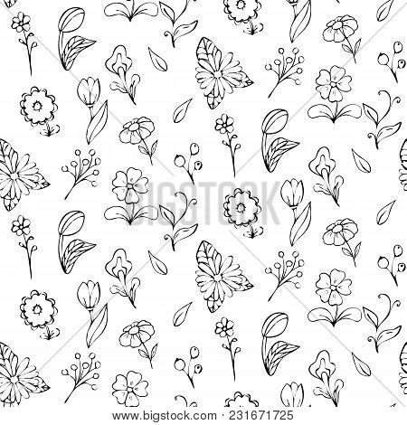 Cute Vector Seamless Floral Pattern Background. Floral Pattern On A White Background. Monochrome Vec