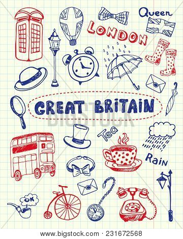 Great Britain Associated Symbols. English National, Cultural, Culinary, Sportive, Historical, Archit