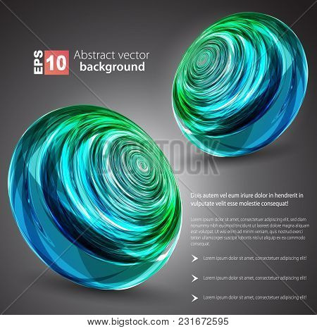 Nice Abstract Blue Sphere Background. Vector Illustration