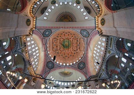 Istanbul, Turkey - March 27, 2012: Dome Of The Suleiman Mosque.