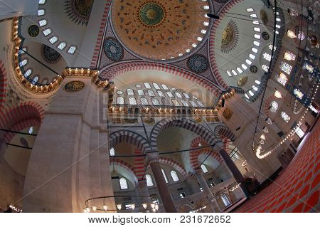 Istanbul, Turkey - March 27, 2012: Interior Of The Suleiman Mosque.