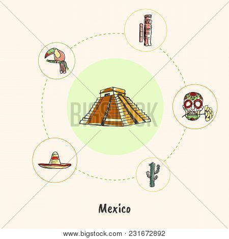Attractive Mexico. Mayas Pyramid Colored Doodle Surrounded Skull With Flower, Idol, Toucan, Sombrero