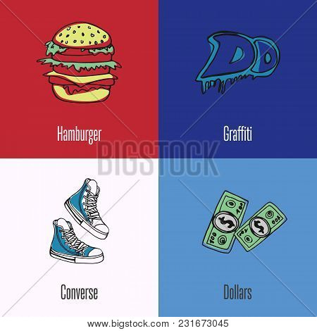 American National Symbols. Hamburger, Street Graffiti, Dollar Bills, Sneakers Colored Hand Drawn Doo