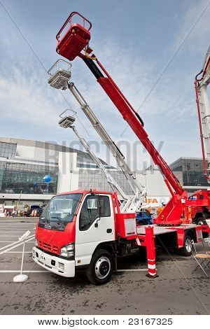 Moscow, Russia - June 02:  Yellow Auto Crane On Display At Moscow International Exhibition Construct
