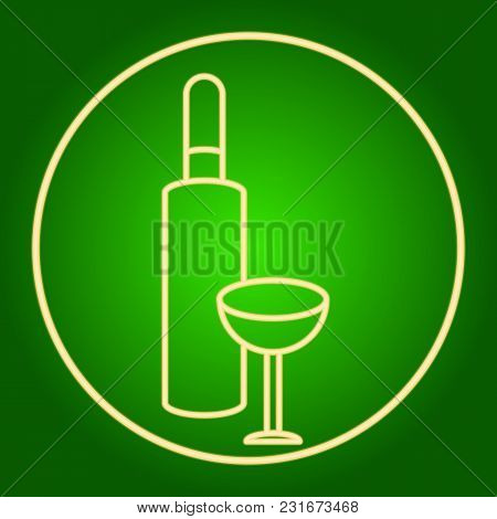 A Bottle Of Wine And A Glass In A Neon Circle. Easter. Neon Icon. Neon Sign. Effect Of Neon Glow. Ve