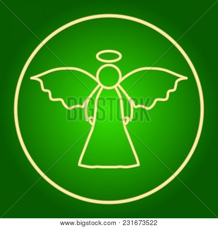Angel In The Neon Circle. Easter. Neon Icon. Neon Sign. Effect Of Neon Glow. Vector Image.