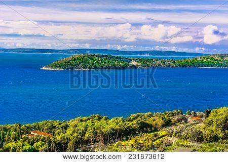 Scenic View At Marble Nature In Dalmatia Region, Ciovo Peninsula View.