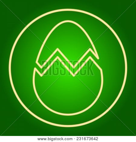 Chopped Egg In A Neon Circle. Easter. Neon Icon. Neon Sign. Effect Of Neon Glow. Vector Image.