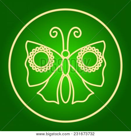 Moth, Butterfly In A Neon Circle. Easter. Neon Icon. Neon Sign. Effect Of Neon Glow. Vector Image.