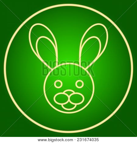 Head Of A Hare, A Rabbit In A Neon Circle. Easter. Neon Icon. Neon Sign. Effect Of Neon Glow. Vector