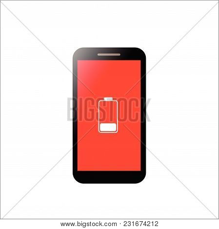 Mobile Phone Low Battery With Red Screen Concept. Smartphone And Low Battery.
