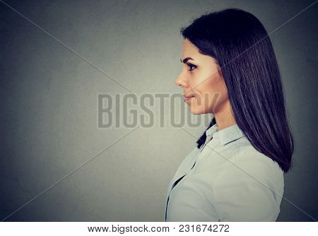 Side Profile Of A Happy Smiling Woman