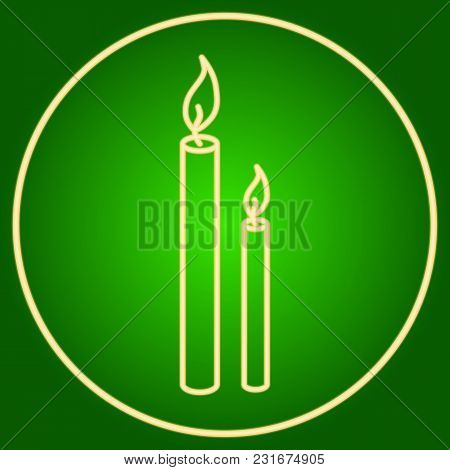 Burning Candles In A Neon Circle. Easter. Neon Icon. Neon Sign. Effect Of Neon Glow. Vector Image.