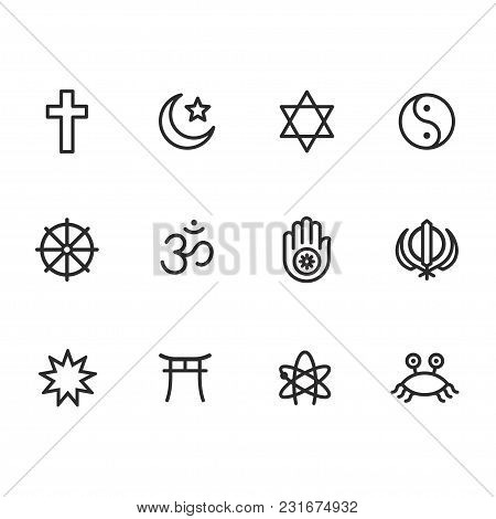 Icon Set Of Religion Symbols. Main World Religious And Atheist Pictograms In Simple Modern Line Icon
