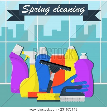 Spring Cleaning Concept. Bottles Of Detergent, Washing Powder, Bottle Of Spray, Cleaning Sponge, Cle