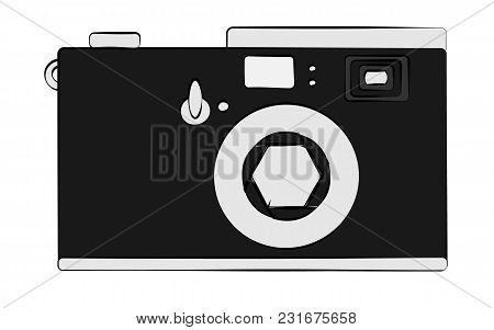 Old Black And White Retro Vintage Antique Hipster Obsolete Camera On White Background. Vector Illust