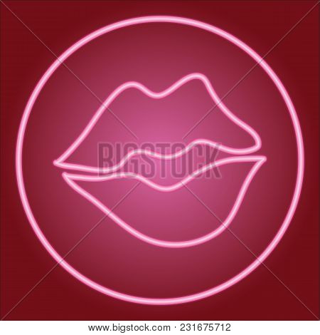 Partially Closed Lips, In A Neon Circle. Neon Icon. Neon Sign. Effect Of Neon Glow. Vector Image.