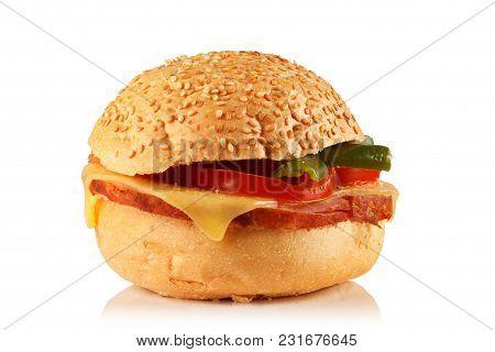 Sesame Seed Bun Sandwich On White Background